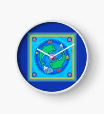 Green Dolphins Playing Clock