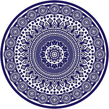 Mandala 006 Midnight Blue on White Background by creativewear