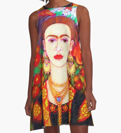 My other Frida Kahlo with butterflies  A-Line Dress