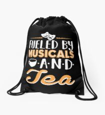 Fueled by Musicals and Tea Drawstring Bag