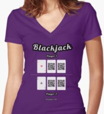 Interactive blackjack t-shirt, family and friends card game Women's Fitted V-Neck T-Shirt