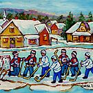HOCKEY STICKS AT VILLAGE ICE RINK COUNTRY HOCKEY GAME CANADIAN WINTER SCENE PAINTING  by Carole  Spandau