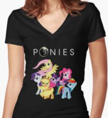 Ponies Women's Fitted V-Neck T-Shirt