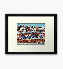 COUNTRY RINK HOCKEY GAME QUEBEC LAURENTIAN VILLAGE SCENE CANADIAN WINTER ART  Framed Print