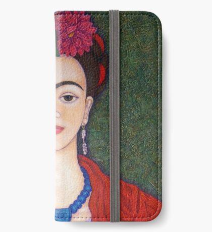 Frida portrait with dalias closer iPhone Wallet