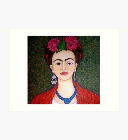 Frida portrait with dalias closer Art Print
