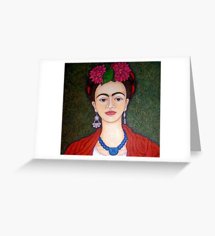 Frida portrait with dalias closer Greeting Card