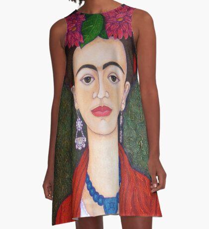 Frida portrait with dalias closer A-Line Dress