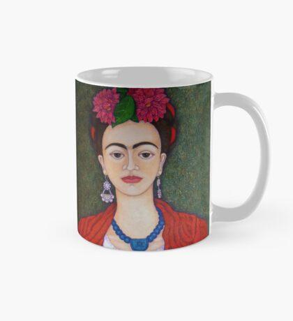 Frida portrait with dalias closer Mug