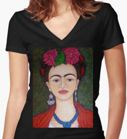 Frida portrait with dalias closer Women's Fitted V-Neck T-Shirt