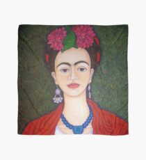 Frida portrait with dalias closer Scarf