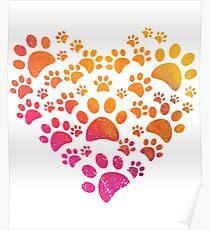 Huellas de Animal con Corazon Poster