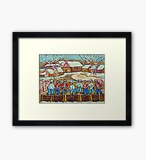 COUNTRY VILLAGE ICE RINK PAINTING HOCKEY GAME ART CANADIAN RURAL LANDSCAPE SCENES Framed Print