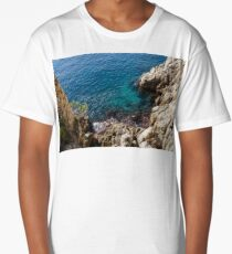 Cote D Azur - Clear Mediterranean Silk and Rugged Limestone Long T-Shirt