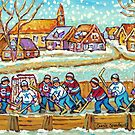 SNOW FALLING ON HOCKEY RINK PAINTING LAURENTIAN VILLAGE SCENE QUEBEC LANDSCAPE ART by Carole  Spandau