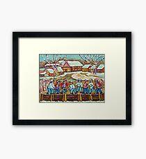 RINK HOCKEY GAME PAINTING BEAUTIFUL WINTER SNOW SCENE QUAINT LAURENTIAN VILLAGE QUEBEC ART Framed Print