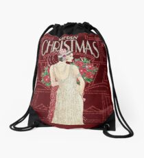 FLAPPER : Vintage Christmas Print Drawstring Bag