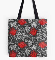 William Morris Anemone, Gray / Grey and Red Tote Bag