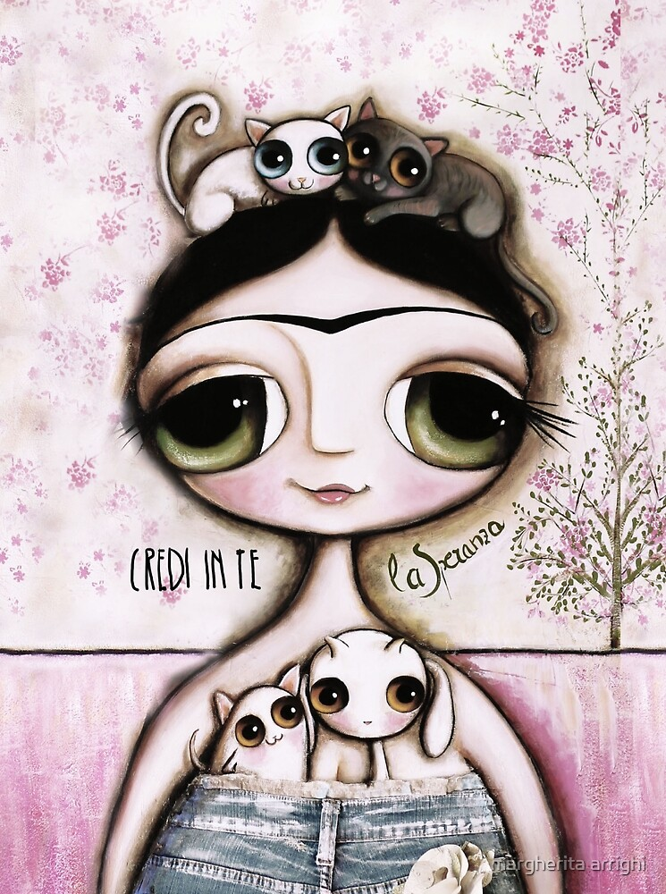 The doll black hair and green eyes with white whimsical cat by margherita arrighi