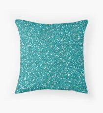 Turquoise Glitter Sparkles Texture Photography Throw Pillow