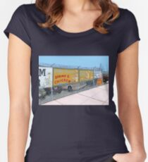 coney island shrimp and chicken Women's Fitted Scoop T-Shirt