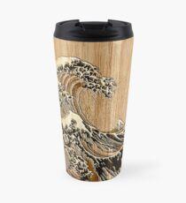 The Great Hokusai Wave in Bamboo Inlay Style Travel Mug