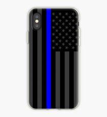 Vinilo o funda para iPhone La delgada línea simbólica azul en la bandera estadounidense