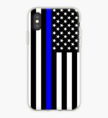 The Symbolic Thin Blue Line on US Flag iPhone Case