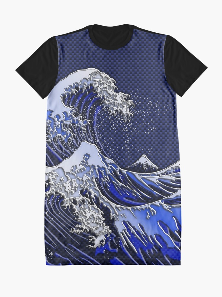 Alternate view of The Great Hokusai Wave chrome carbon fiber styles Graphic T-Shirt Dress