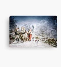 Welshies running alongside Santas sleigh Canvas Print