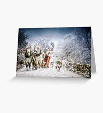 Welshies running alongside Santas sleigh Greeting Card