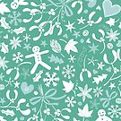 Mistletoe and Gingerbread Ditsy - Ice blue and teal - Christmas Pattern by Cecca Designs by Cecca-Designs
