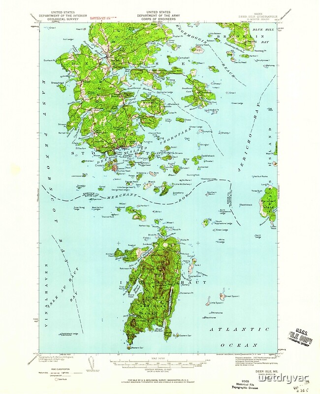 Quot Maine Usgs Historical Map Deer Isle 460353 1942 62500