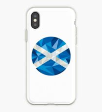 Scotland Flag Icon Circle Low Polygon iPhone Case