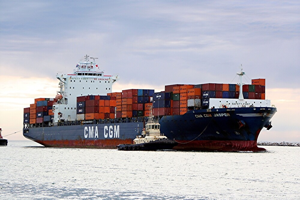 Container cargo ship and tug by FranWest