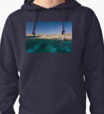 Moored in Blue Lagoon Bay, Comino Pullover Hoodie