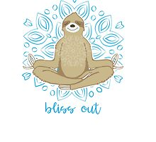 Bliss Out Meditating Sloth by jitterfly