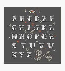 Homemade tattoos alphabet Photographic Print