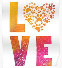 Love Heart with Animal Paws Poster