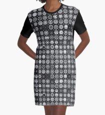Wheel Pattern Gray Graphic T-Shirt Dress