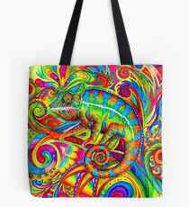 Psychedelizard Psychedelic Chameleon Colorful Rainbow Lizard Tote Bag