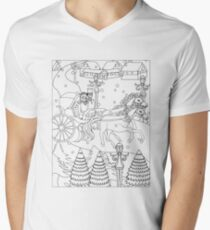 Winter wonderland t-shirt horse carriage couple riding through the snow. perfect colorable design for christmas Men's V-Neck T-Shirt