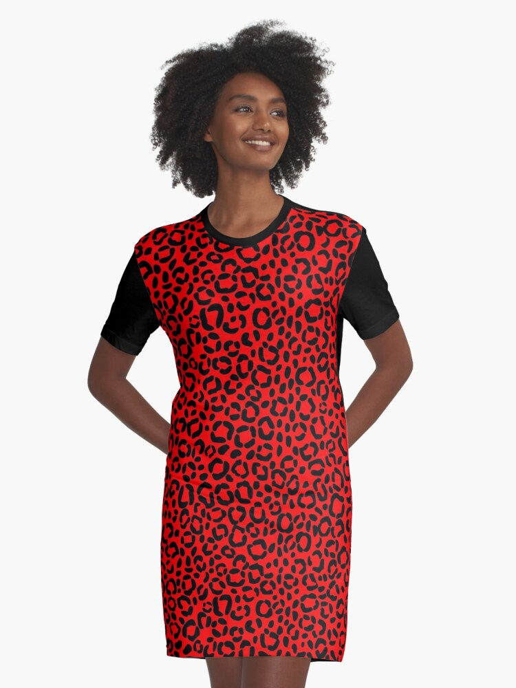 ff74850a27e7 Sassy Red and Black Leopard Print Pattern Design Graphic T-Shirt Dress