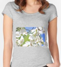 Dogwood Tree Flowers - Colors in Nature Background - Finest Magic of White Purity Women's Fitted Scoop T-Shirt