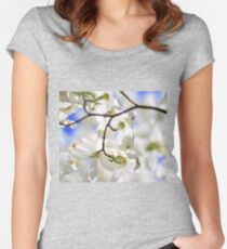 Dogwood Tree Blossoms - Colors in Nature Background - White Flowers of Health and Purity Women's Fitted Scoop T-Shirt