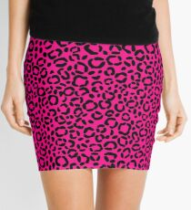 Pink and Black Leopard Print Pattern Mini Skirt