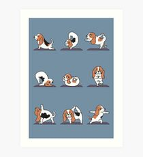 Basset Hound yoga Art Print