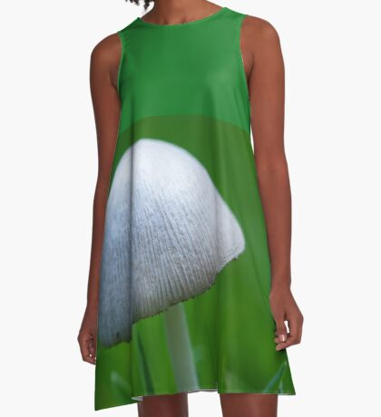 A Wee Little Mushroom Hiding in the Grass A-Line Dress