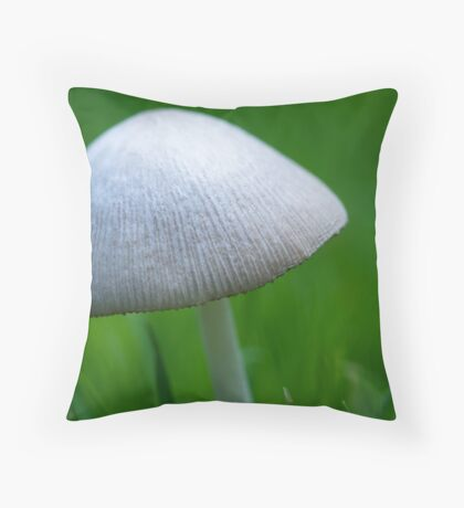 A Wee Little Mushroom Hiding in the Grass Throw Pillow