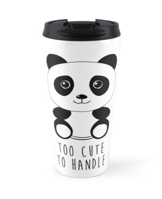 too cute to handle panda travel mugs by luke webster redbubble. Black Bedroom Furniture Sets. Home Design Ideas